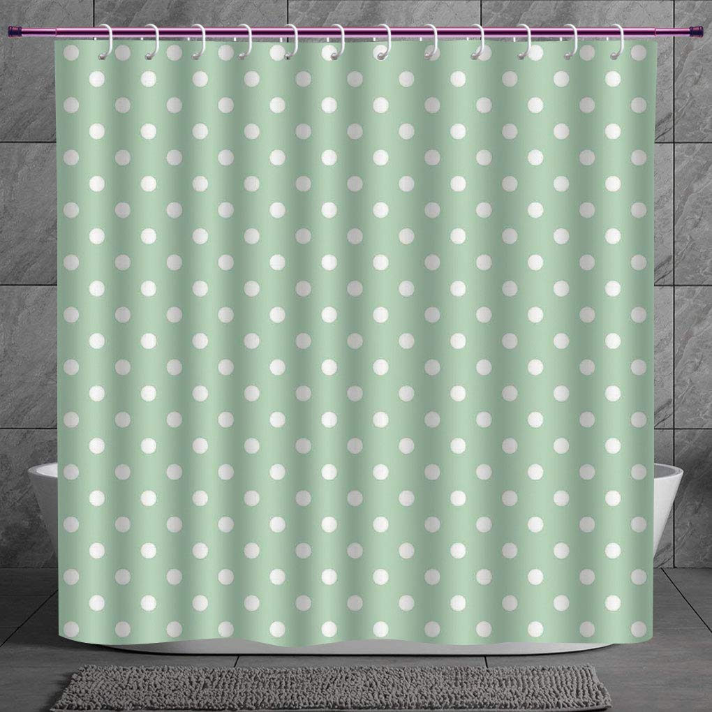 Mint Shower Curtain Classical Vintage Fresh Print for Bathroom