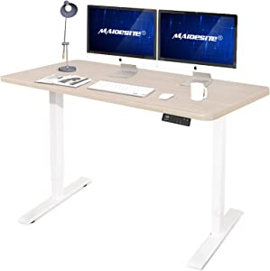 Dual Motor Standing Desk 55 x 28 Inches Electric Height Adjustable Computer Desk Home Office Desk Memory Controller Sit Stand Table Oak