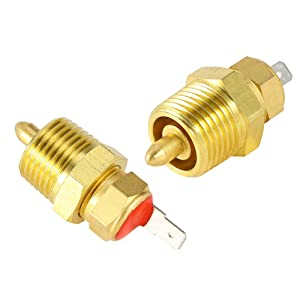 """Electric Fan Switch Temp Switch for Electric Fan 185 175, Gold Electric Engine Cooling Fan Thermostat Temperature Sensor Switch with 3/8"""" Pipe Thread for 10"""" 12"""" 14"""" 16"""" Fan"""