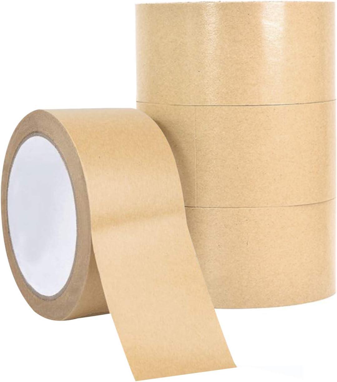 ruban de papier demballage 50 mm x 30 m XGzhsa Ruban de papier kraft 4 rouleaux Rubans kraft brun recyclables Rubans demballage auto-adh/ésifs pour colis et cadre photo