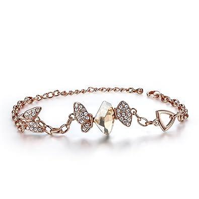 City Ouna® Femmes Saint Valentin cadeau bijoux Swarovski éléments Cristal Bracelet Or Rose papillon plaqué
