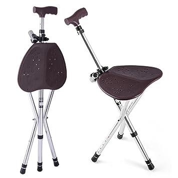 SHKY discapacidad asistencia médica plegable bastón bastón asiento taburete silla Camp silla y bastones de pie