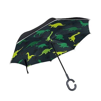 ALINLO Paraguas invertido patrón de Dinosaurio, Doble Capa, Paraguas invertido, Resistente al Agua