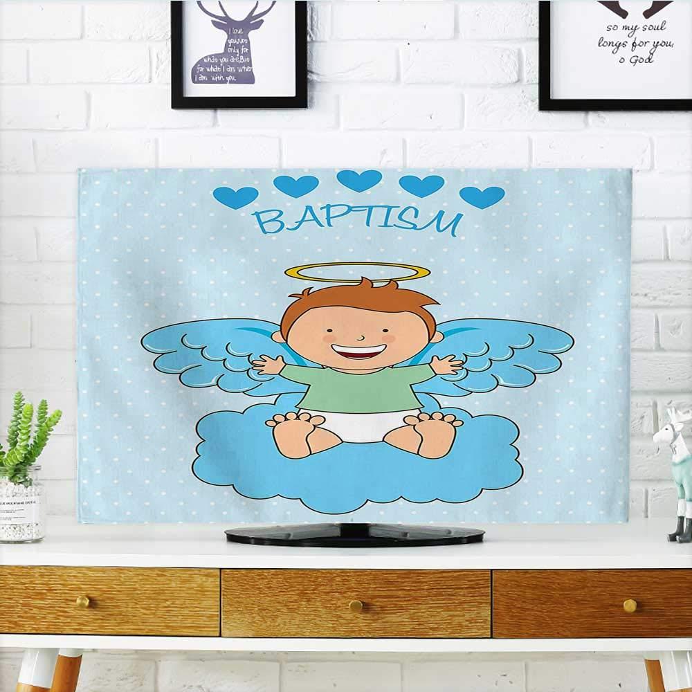 Auraisehome Protect Your TV My First Communion Sign Boy Baptism グレープス カップ パン キャンドル 魚の羽 アートワーク TV W19 x H30 インチ/TV 32インチ W35 x H55 INCH/TV 60