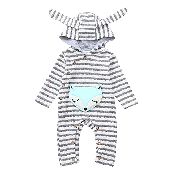 Amazon.com: Gornorriss Baby Rompers Toddler Girls Boys Cartoon Fox Striped Ear Hooded Jumpsuit Outfits: Clothing