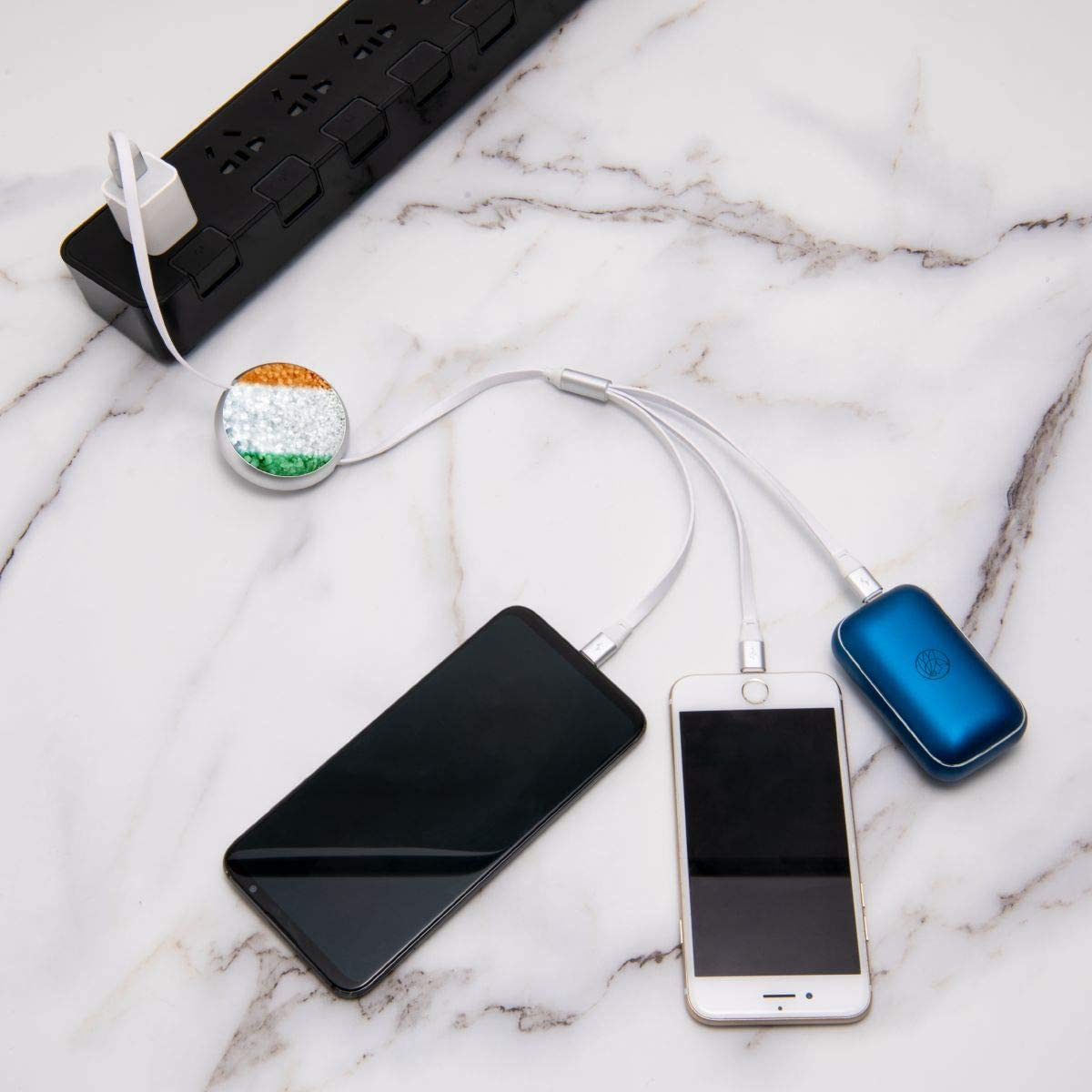 Retractable Multi USB Charging Cable Fast Charger Cord 3 in 1 Irish Flag Flashing with Type C Micro USB Port Connectors