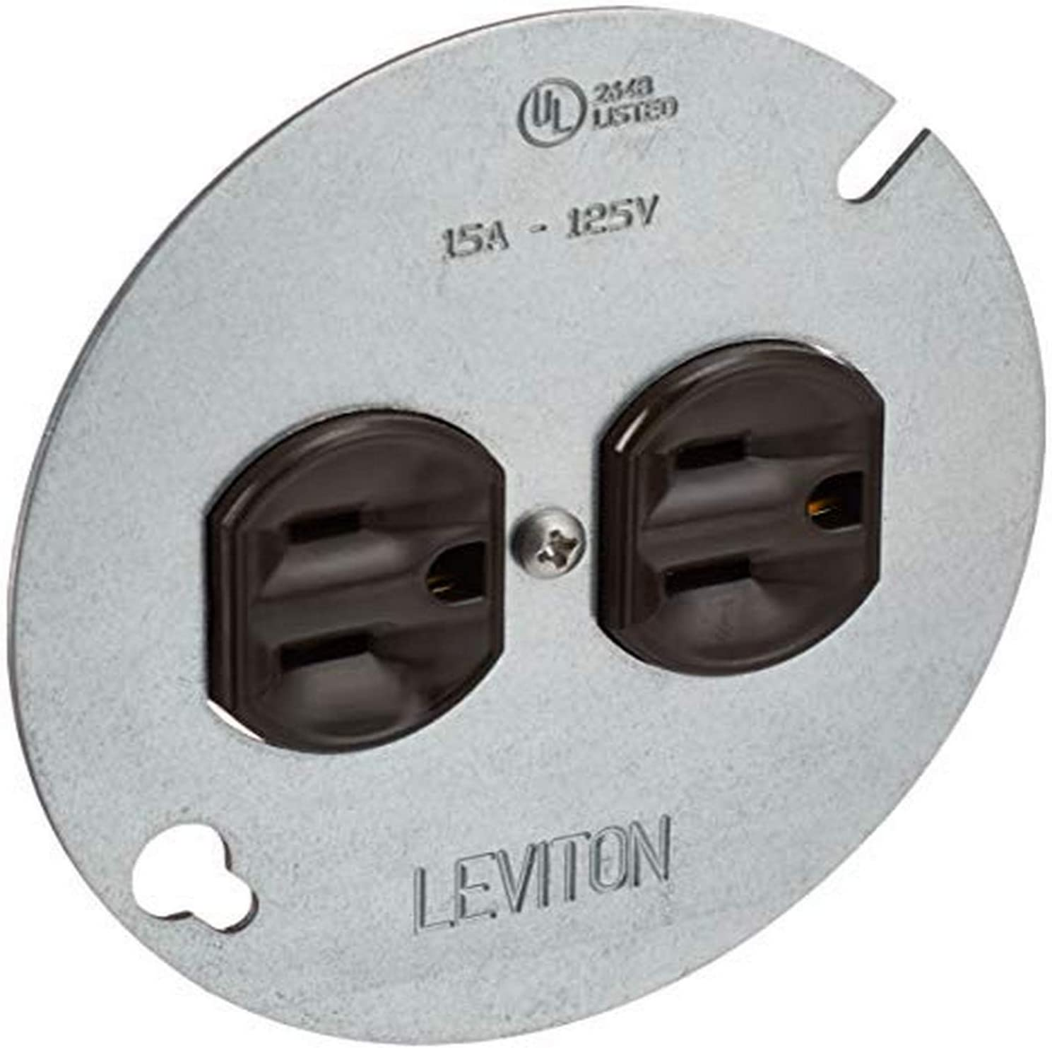 "Leviton 1228 15 Amp 125 Volt, Duplex Receptacle, with 4"" Metal Cover, Residential Grade, Grounding, Brown - Electric Plugs -"