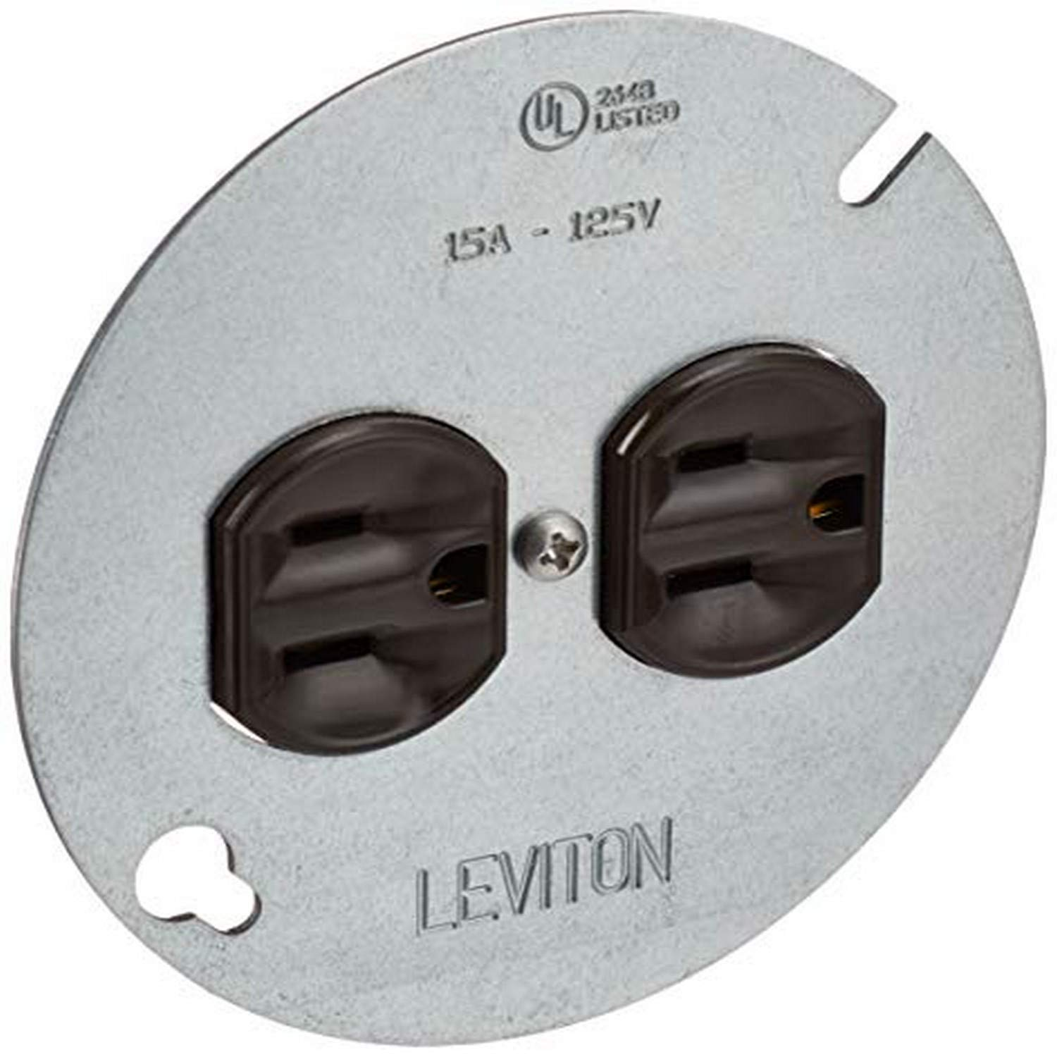 "Leviton 1228 15 Amp 125 Volt, Duplex Receptacle, with 4"" Metal Cover, Residential Grade, Grounding, Brown"