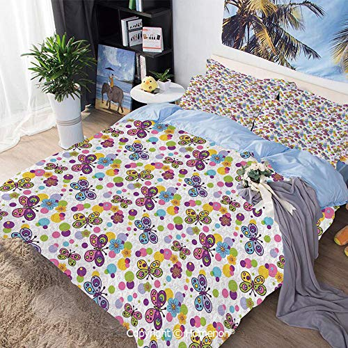 3-Piece Bed,Vibrant Flora Patterned and Polka Dotted Background with Vintage Inspired Animals Decorative,Queen Size,Include 1 Quilt Cover+2 Pillow case,Multicolor