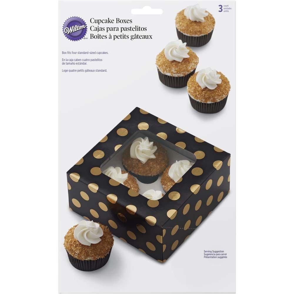 Wilton - Negro con Oro Lunares Cajas para Cupcakes, Pack de 3: Amazon.es: Hogar