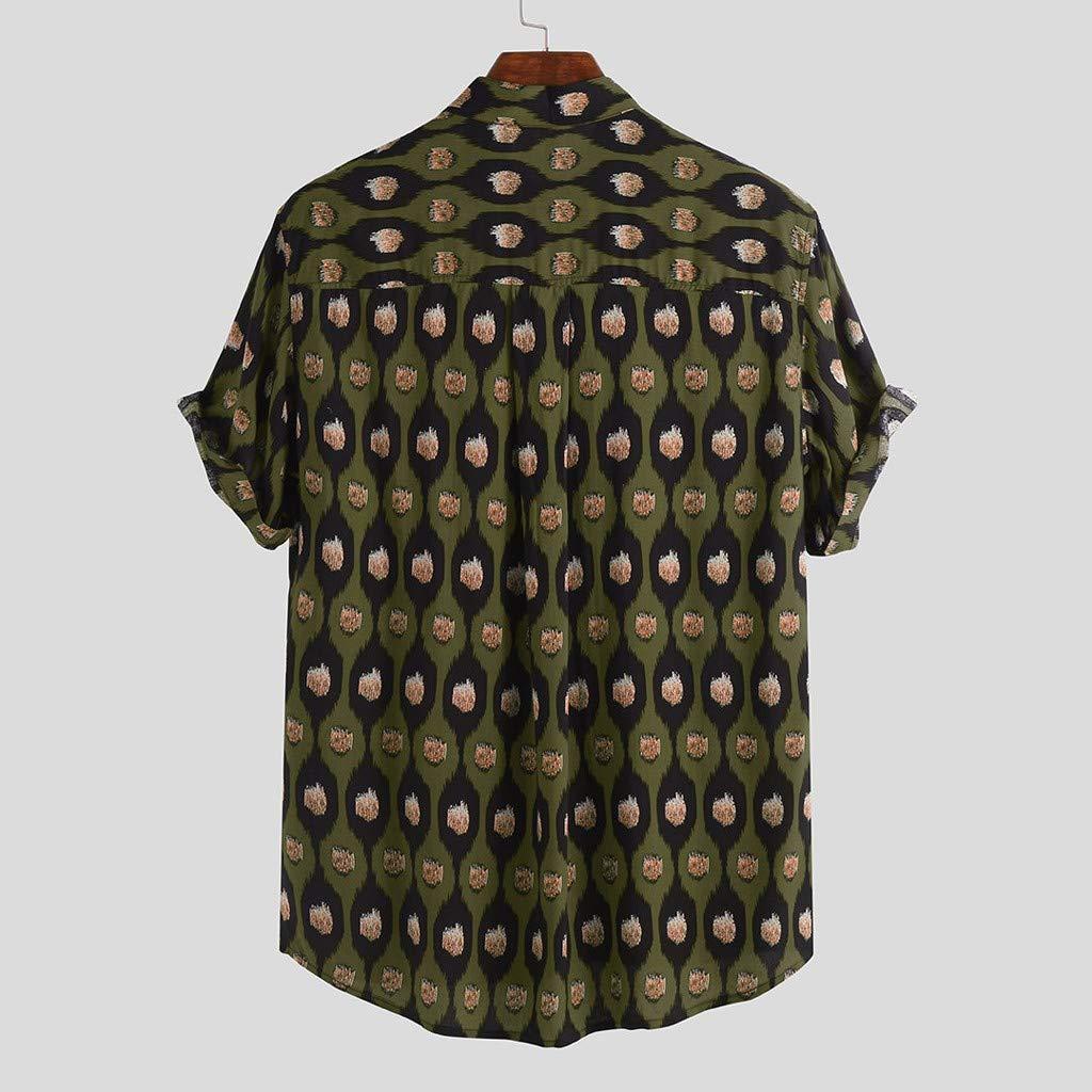 Mens Hawaiian Short Sleeve Shirt RNTOP Aloha Flower Print Casual Button Down Standard Fit Beach Shirts