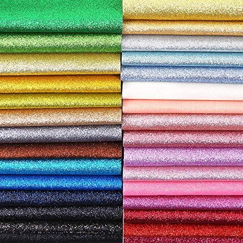[해외]Caydo 30 색 반짝 극상 반짝이 패브릭 PU 가죽 직물 시트 캔버스 다시 공예 DIY 머리 클립 모자 만들기 12.6 x 8.6 인치 (32 x 22cm) / Caydo 30 Colors Shiny Superfine Glitter Fabric PU Leather Fabric Sheets Canvas Back for Craft DIY Hair C...