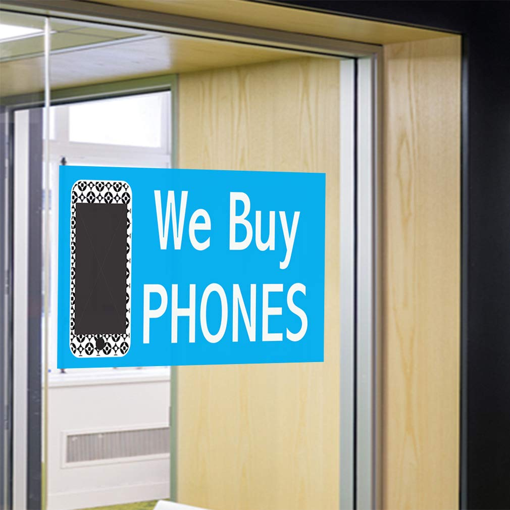 Set of 5 27inx18in Decal Sticker Multiple Sizes We Buy Phones #1 Style A Retail We Outdoor Store Sign Blue
