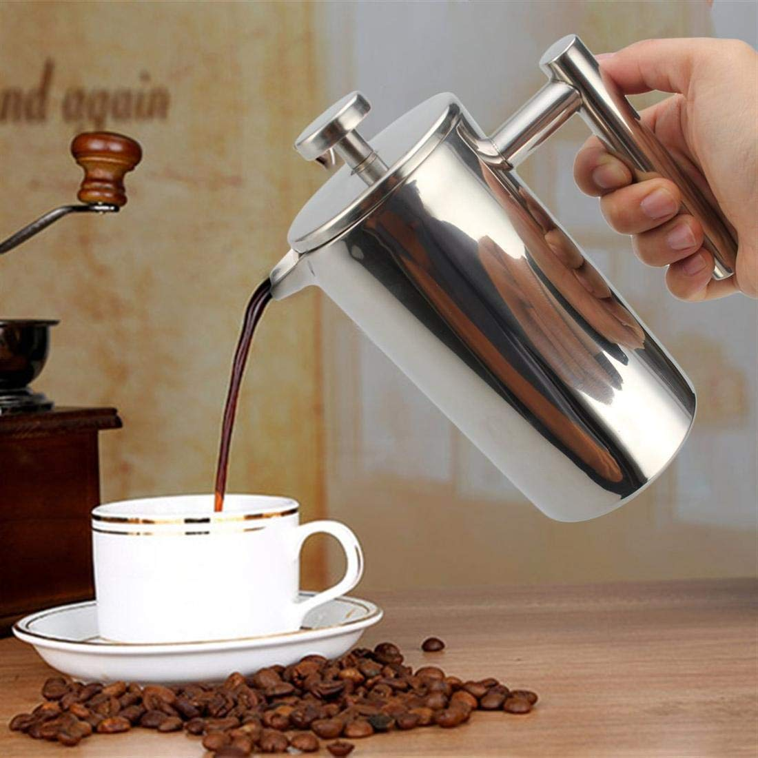 Seatour 1000ML Stainless Steel Double Wall Insulated French Press Coffee Tea Pot with Filter by Seatour (Image #7)