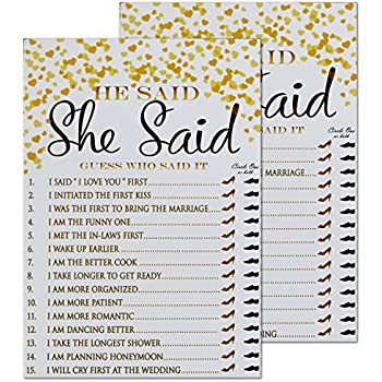 bridal shower games ideas he said she said cards 50 pack gold wedding