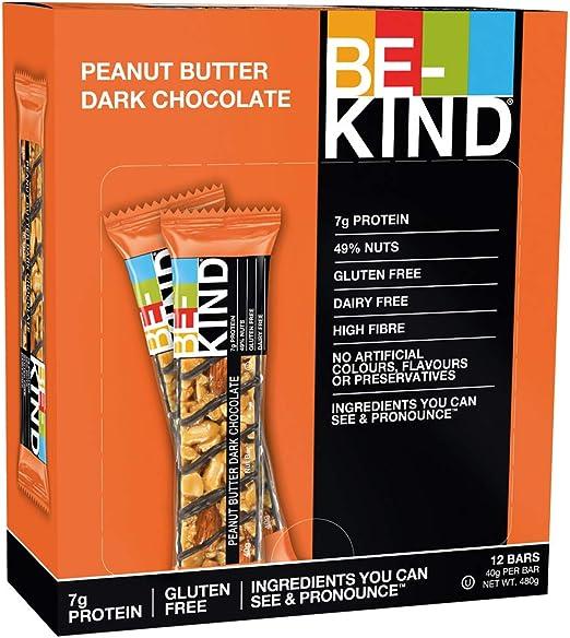 BE-KIND Barrita energética y nutritiva de frutos secos baja en azúcar sin lactosa| Snack sin gluten alto en fibra y proteína de chocolate negro y ...