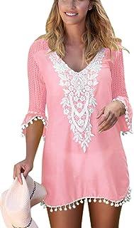 Beautyplay Womens Beach Blouse Cover Up Dress V Neck Print Swimsuit Beachwear Bikini Stylish Swimwear
