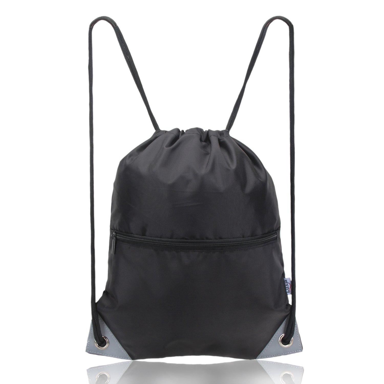 LUXJA Teenage Drawstring Backpack, Drawstring Bag, Drawstring Gym Bag for Kids, Black
