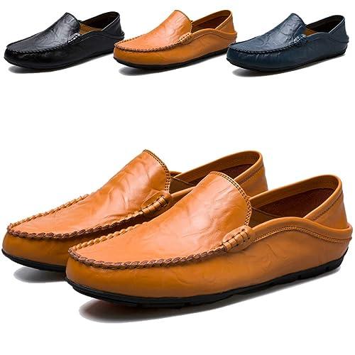 Sunny Holiday Herren Mokassin Bootsschuhe Leder Loafers Schuhe Flache Fahren Halbschuhe Slippers Herren Schnürhalbschuhe