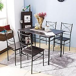 Harper Bright Design 5 pcs Dining Table Set Dining Set Dining Furniture Wood and Metal Home Kitchen Furniture (Espresso)