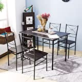 Harper Bright Design 5 pcs Dining Table Set Dining Set Dining Furniture Wood and Metal Home Kitchen Furniture (Espresso)