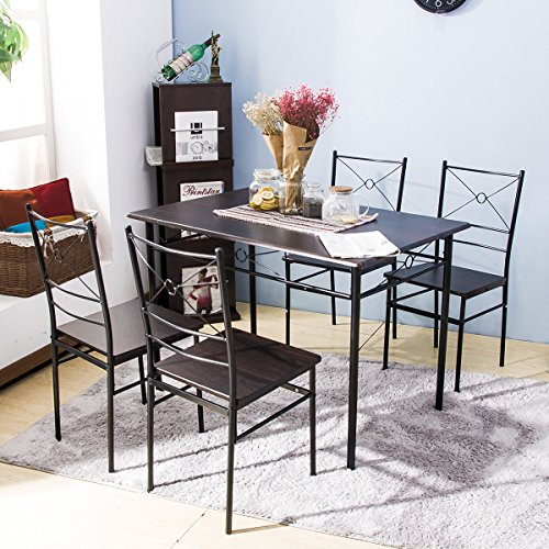 Harper Bright Design 5 pcs Dining Table Set Dining Set Dining Furniture Wood and Metal Home Kitchen Furniture (Espresso) (Dining Sets Table Kitchen)