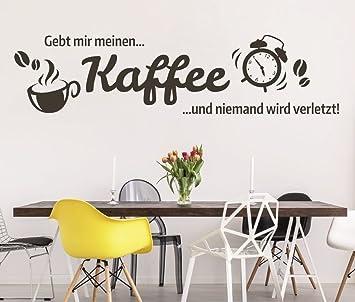 tjapalo® S-pkm89 Wandtattoo Küche Spruch gibt mir Kaffee einen Kaffee und  niemand wird verletzt Wandtattoo Büro (B100 x H34 cm)