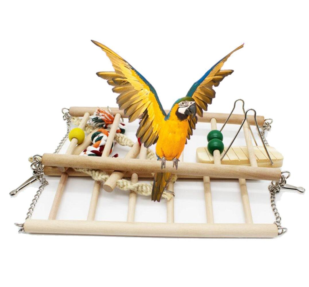 Pet Hanging Ladder Wooden Suspension Bridge Steps Stairs Climbing Swing Double-Layer Toys for Bird Parakeet Hamster Budgie Cockatiel Parred Hammock Cage Toy