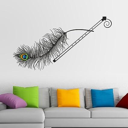 Decals Design 'Krishna Flute and Peacock Feather' Wall Sticker (PVC Vinyl,  70 cm x 50 cm), Multicolour