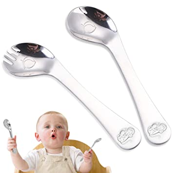 cococity Cubertería Infantil Acero Inoxidable Tenedor para ...