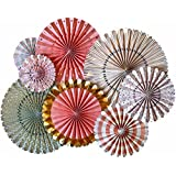 Lightingsky 8 Pcs Tissue Hanging Paper Party Fans for Wedding Home Decoration (Color 3)