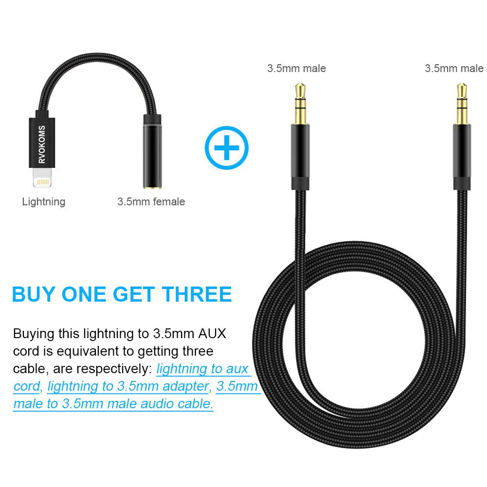 RVOKOMS 3.5mm Aux Cable Compatible with iPhone 7//8//8 Plus//X//XS Max to Car Stereo//Speaker//Headphone Adapter 3-in-1 Aux Cord for iPhone Xs Max Upgrade Support Newest iOS 12 Version and Above Black