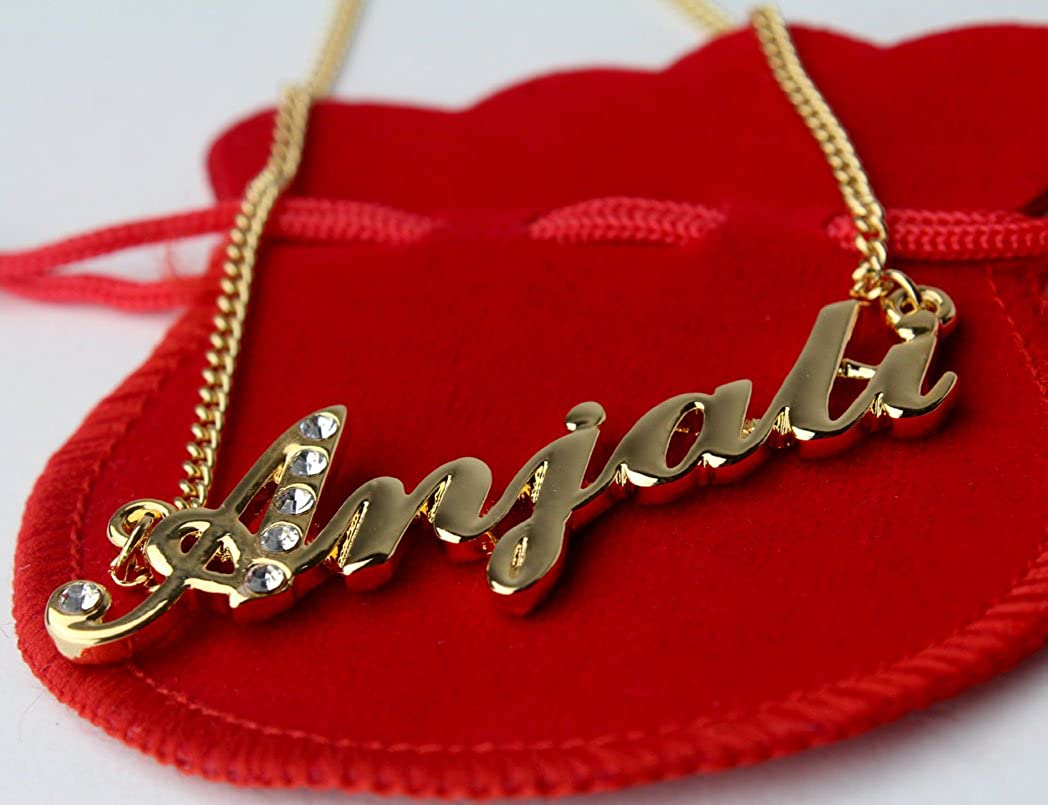 Indian Name Necklace Anjali Gold Plated 18ct Personalised Necklace