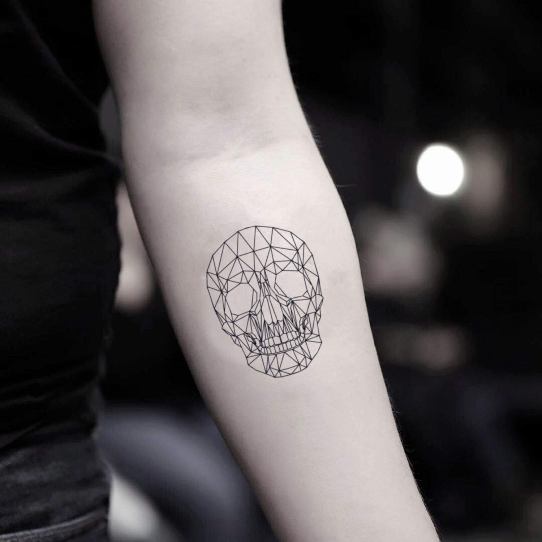 Tatuaje Temporal de Cráneo geométrico (2 Piezas) - www.ohmytat.com ...