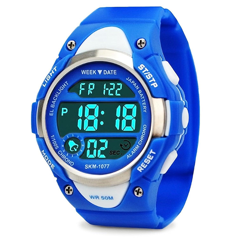 Los niños de los relojes digitales niños deportes reloj con alarma al