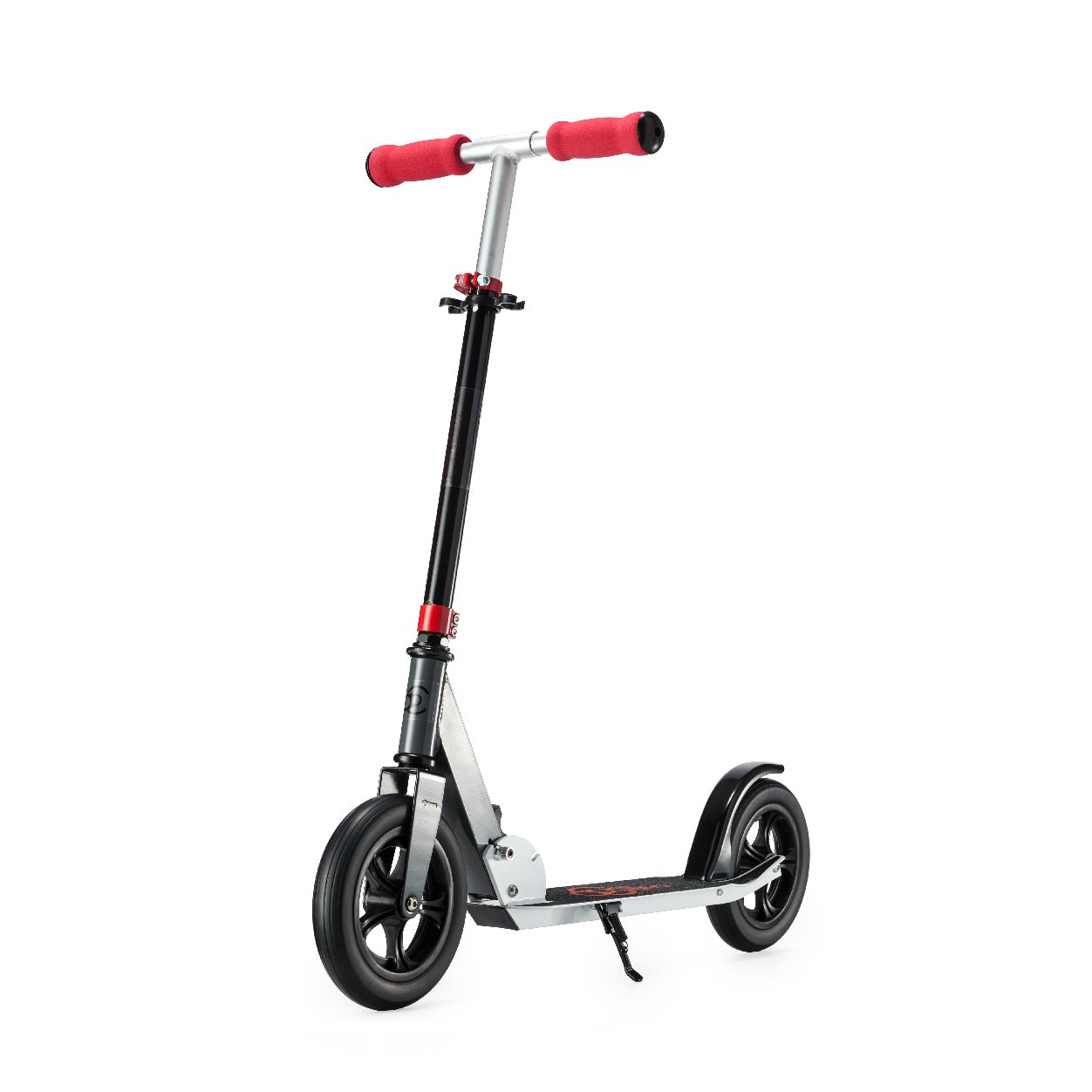 Kick Scooter Red with Front Suspension � Via Velo 200mm Foldable Top Kick Scooter For Adults Teens and Kids, Lightweight and Sturdy and Fat 2-Wheel Scooter, Portable and Absorbing Road Vibrations