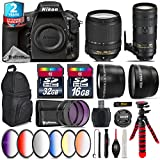 Holiday Saving Bundle for D810 DSLR Camera + 70-200mm f/2.8E VR Lens + 18-140mm VR Lens + 2.2x Telephoto Lens + 0.43x Wide Angle Lens + 6PC Graduated Color Filer Set - International Version