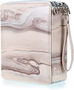 BTSKY160 Slots Colored Pencil Case- Deluxe PU Leather Handy Pencil Holder Organizer Zipper Pencil Box Large with Handle Strap for Colored Pencils Watercolor Pencils(Marble Brown)