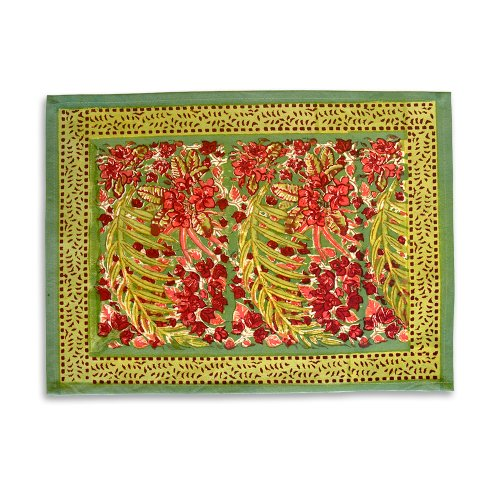 Couleur Nature Bougainvillea Placemat, 15-inches by 18-inches, Green/Red, Set of - Green Red Placemat