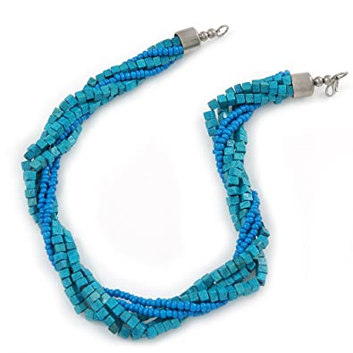 Avalaya Teal Square Wood And Blue Off Round Glass Bead Multistrand Twisted Necklace In Silver Tone - 44cm L CNU0590