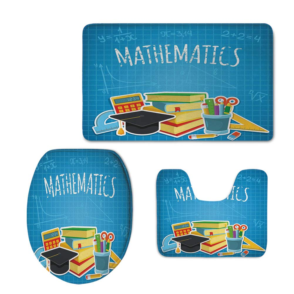 Fashion 3D Baseball Printed,Mathematics Classroom Decor,Education Science Concept School College Supplies Set Books Cap Decorative,Multicolor,U-Shaped Toilet Mat+Area Rug+Toilet Lid Covers 3PCS/Set
