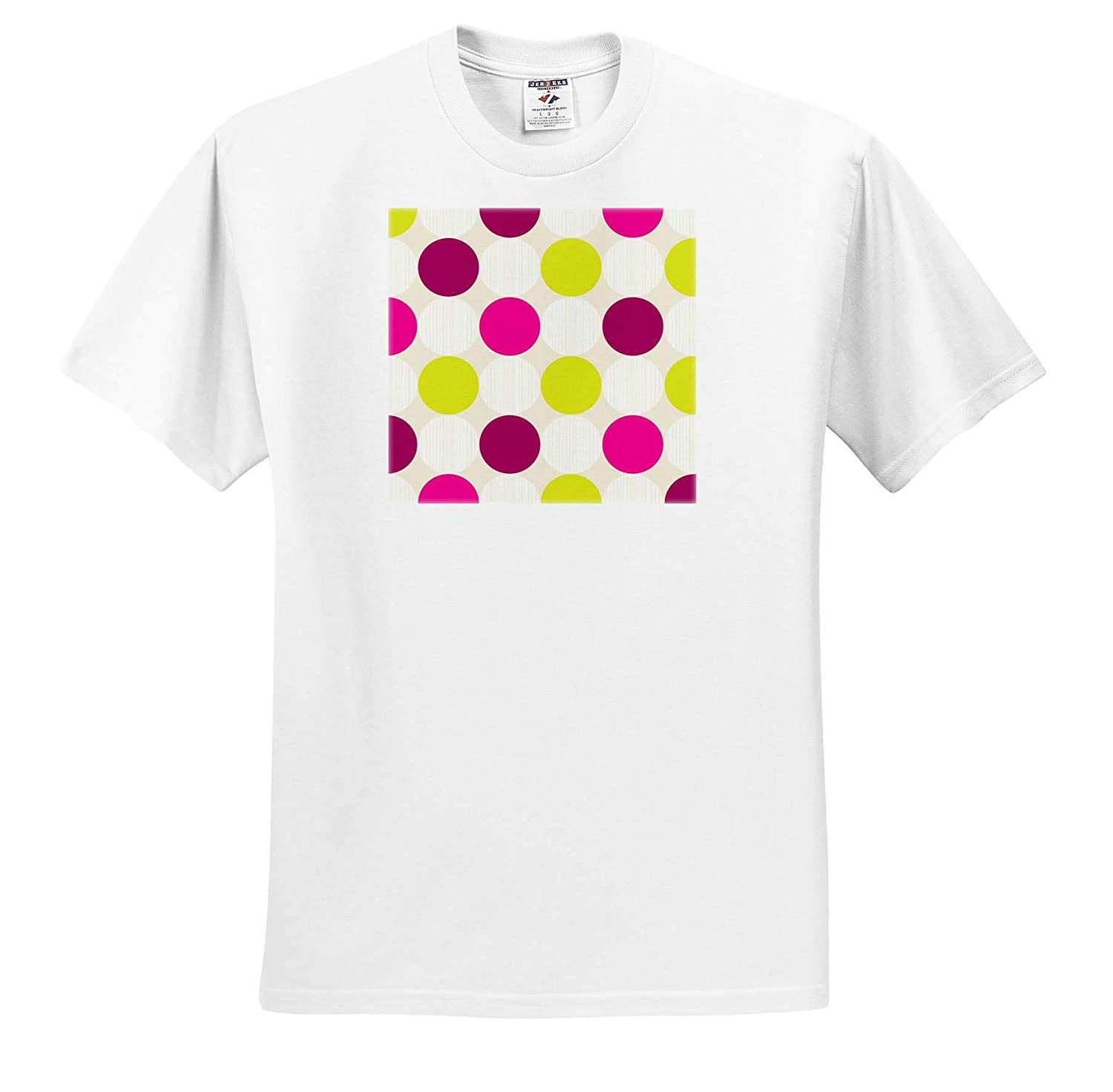 3dRose Lens Art by Florene Adult T-Shirt XL Image of Large Fuchsia Lime and Ivory Polka Dots Polka Dots ts/_320799