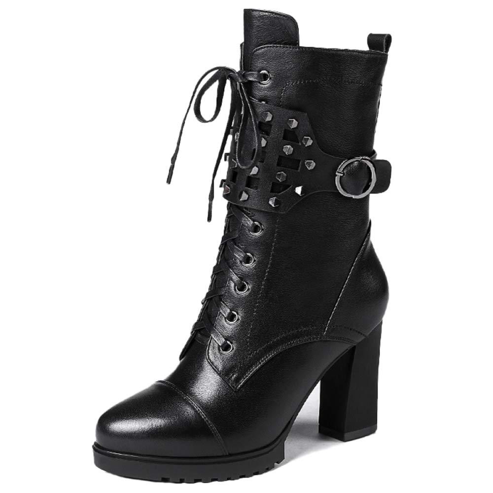 Frauen Martin Stiefel Fashion Lace Up Zip Schnalle Chunky Frauen Stiefeletten Lokomotive Knight Stiefelies Damen Schuhe