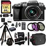 "Panasonic DMC-G7KS Digital Single Lens Mirrorless Camera 14-42 mm Lens Kit, 4K + Transcend 64GB High Speed 10 U3 + Polaroid 72"" Tripod + 3 Piece Filter Set + Battery + Charger + Camera Bag + extras"