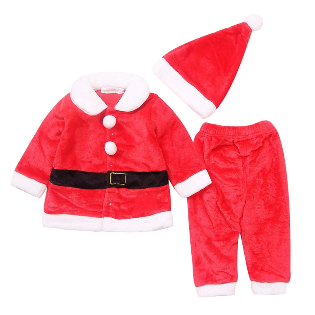 Zlolia Toddles Baby Boys Girls Santa Claus Costume Cosplay 3 Pieces (Long Sleeve Tops + Trousers + Hat) Red by Zlolia-Christmas
