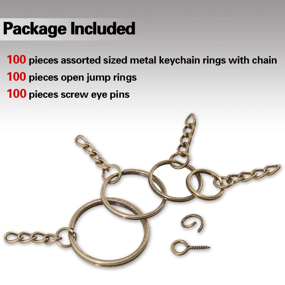 100Pcs Keychain Rings with Chain and 100Pcs Jump Ring with 100Pcs Screw Eye Pins Bulk for Jewelry Findings Making 1 Inch 3//5 Inch Swpeet 300Pcs Bronze Key Chain Rings Kit 4//5 Inch 6//5 Inch