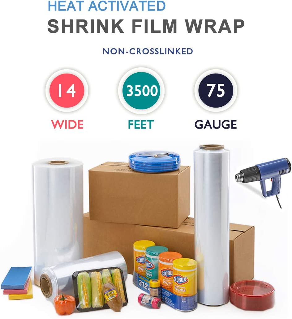 Knox Brand 14 75 Gauge Polyolefin Shrink Film Heat Wrap POF Centerfold 3500 feet