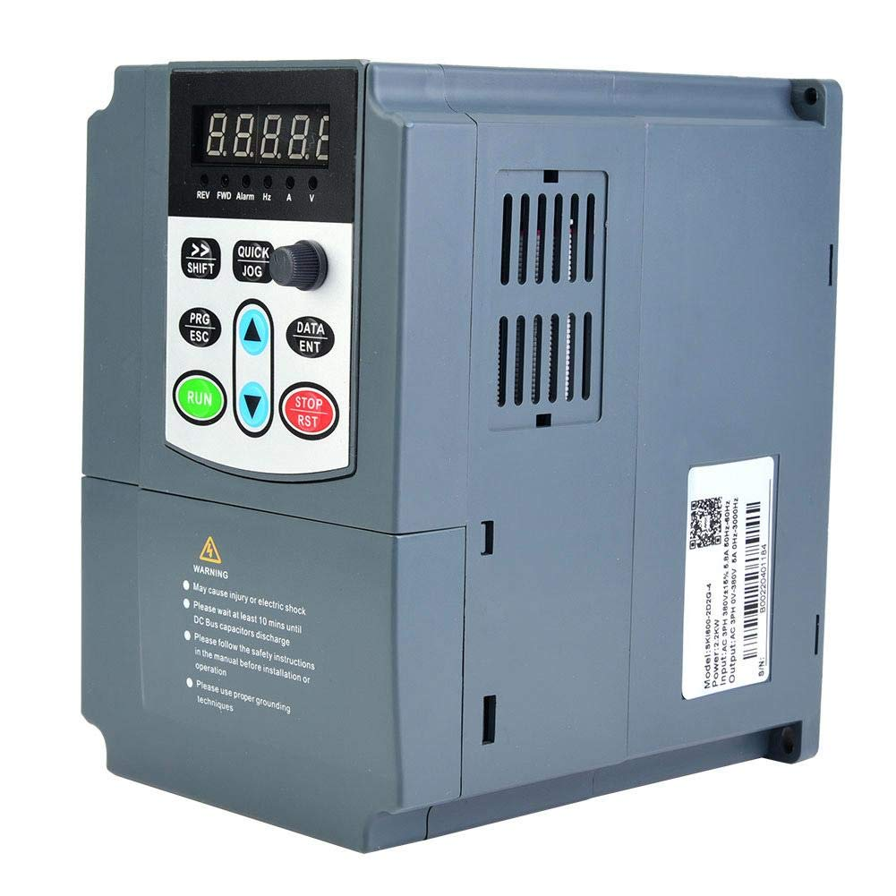 Akozon Variable Frequency 400Hz VFD 2.2Kw 3HP Overloaded Vector Motor Drive VFD 3Phase 380V by Akozon