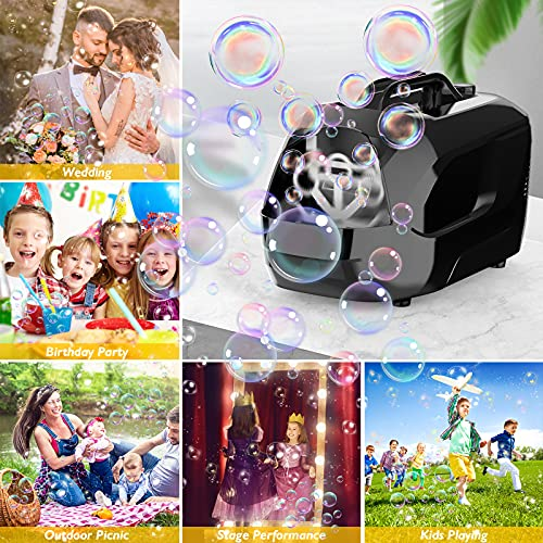 PESUMA Bubble Machine, Automatic Portable Bubble Maker for Kids, Adjustable Speed High Power Bubble Blower with 8 Wands 2 Speed Modes,5000+ Bubbles Per Minute, for Party Birthday Wedding