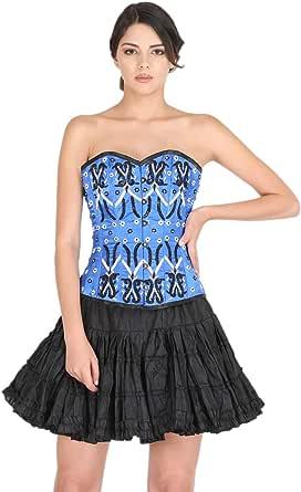 Blue Satin Corset Black Sequins Goth Costume Halloween Burlesque Basque Overbust